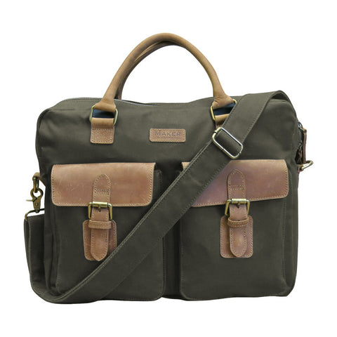 Multi-Media Messenger Bag With Crazy Horse Leather Flaps in Olive