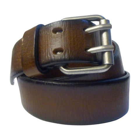 Embossed Leather Belt in Brown