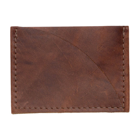 Leather Credit Card Sleeve in Saddle