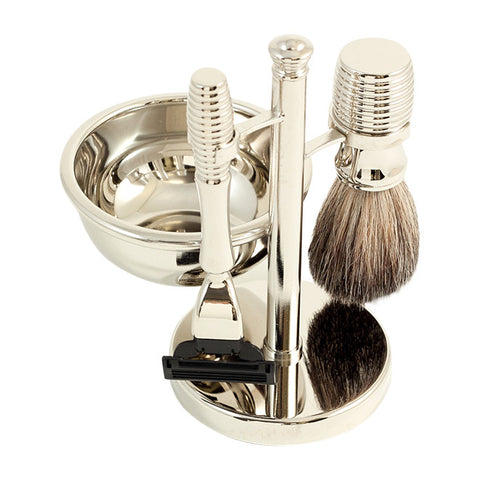 Mach 3 Razor & Pure Badger Brush with Soap Dish on Chrome Stand
