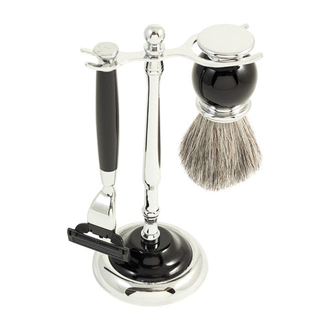 Mach3 Razor & Pure Badger Brush with Chrome Plated Black Enamel Finish
