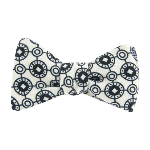 White Coinage Self Tie Bow Tie