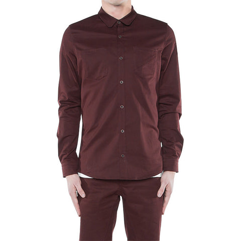 Bens On Button Down in Burgundy