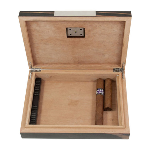 Ebony Wood Cedar Lined Humidor - Holds 12 Cigars
