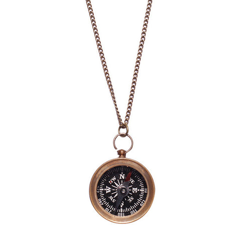 Small Antiqued Compass Necklace
