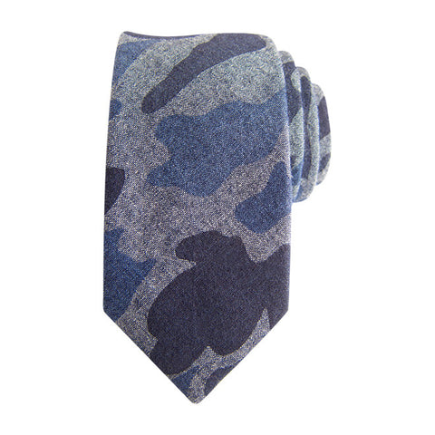 Camo Light Blue Wood Tie
