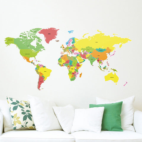 Countries of the World Map Wall Stickers