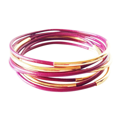 Cyclaman Gold Leather Wrap Bracelet