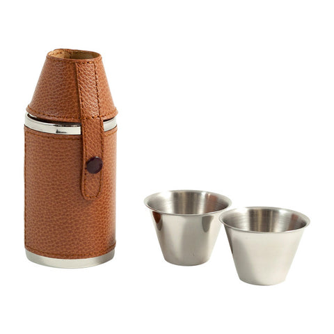Stainless Steel Brown Croco Leather Flask with 2 Cups