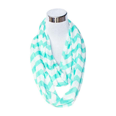 Rivalry Flask Scarf in Mint Green & White