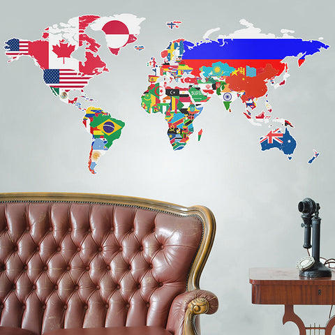 Flags of the World Map Wall Stickers