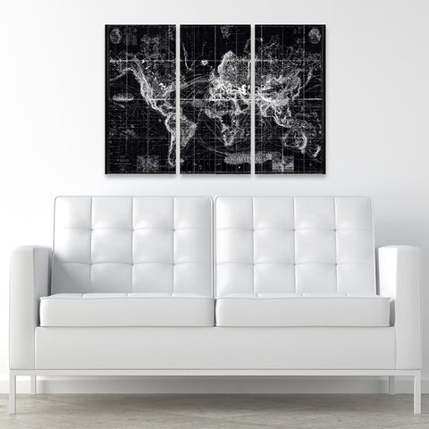 Hatcher & Ethan 'Chart Of The World Map 1863 Triptych' Canvas Art