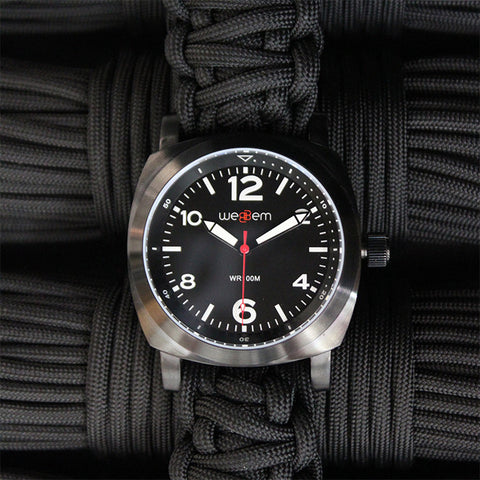 Traveler Black Watch with Black Paracord Strap