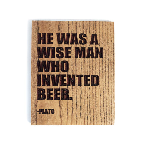 Plato Beer Wood Sign