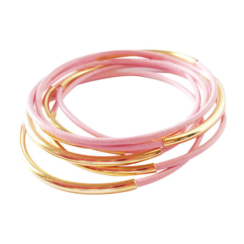 Light Pink Gold Leather Wrap Bracelet