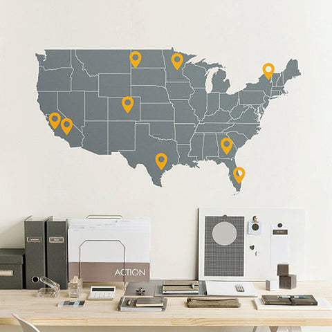 USA Map Wall Decal with Point Signs in Grey/Golden Yellow