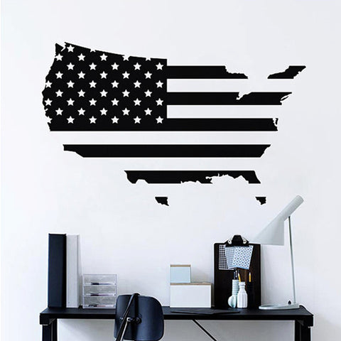 USA Map Wall Decal in Black