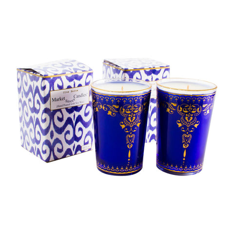 Moroccan Tea Glass Candle, Blue Henna, Set Of 2
