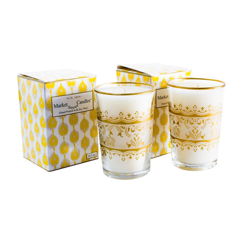 Moroccan Tea Glass Candle, Gold Lace, Set Of 2