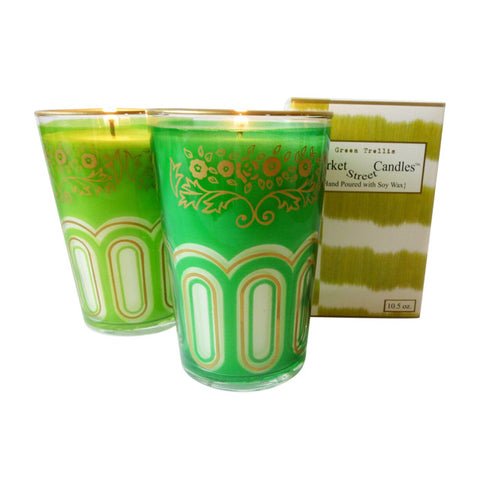 Moroccan Tea Glass Candle, Green Trellis, Set Of 2