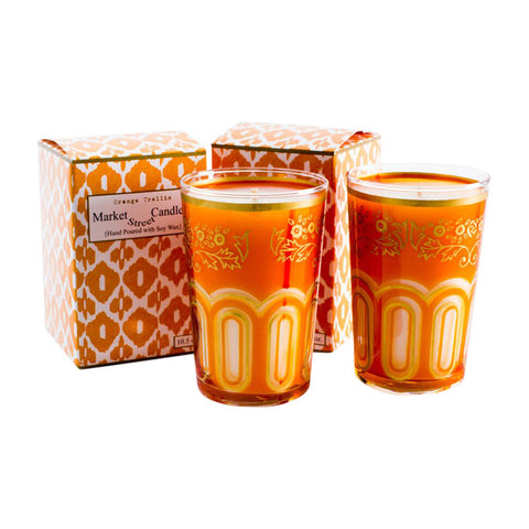 Moroccan Tea Glass Candle, Orange Trellis, Set Of 2