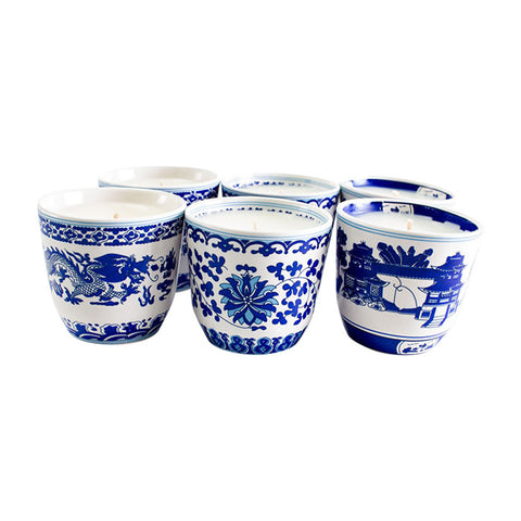 Set Of Six Blue Shanghai Tea Cup Candles