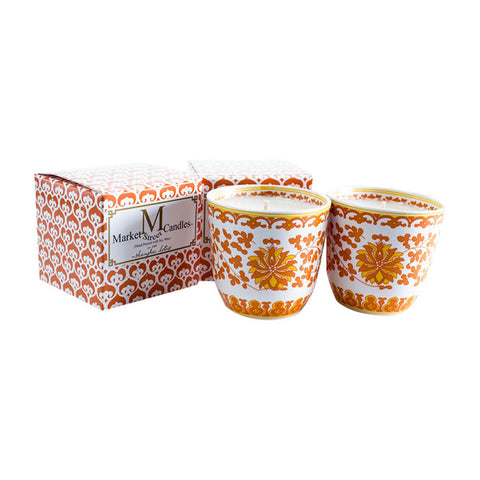 Shanghai Tea Cup Candle, Orange Lotus, Set Of 2