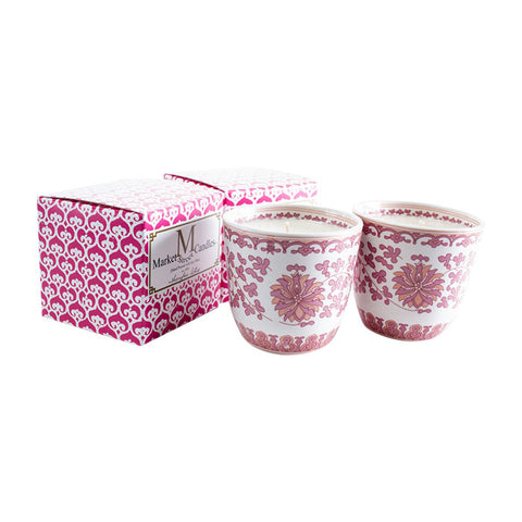 Shanghai Tea Cup Candle, Pink Lotus, Set Of 2