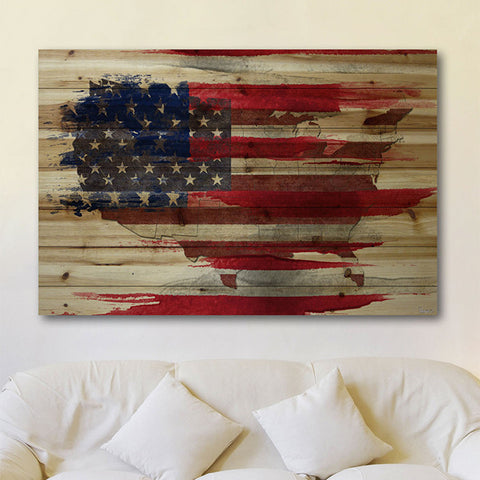 American Map on Natural Pine Wood