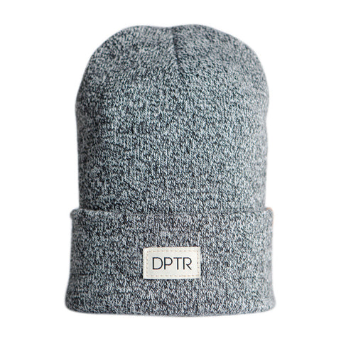 Woven Cuf Beanie in Charcoal Grey