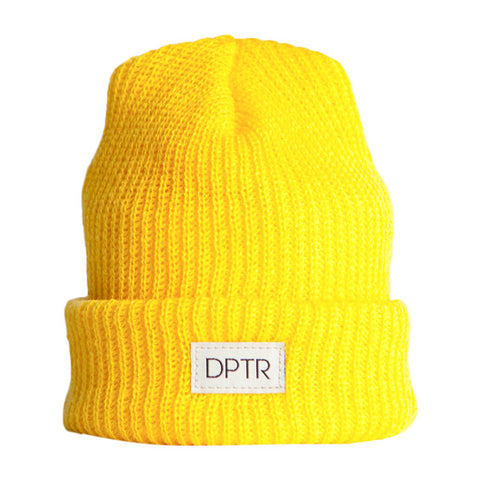 Woven Cuf Beanie in Yellow