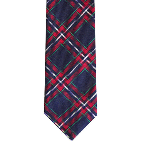 The Alden Slim Tie in Blue Red Plaid