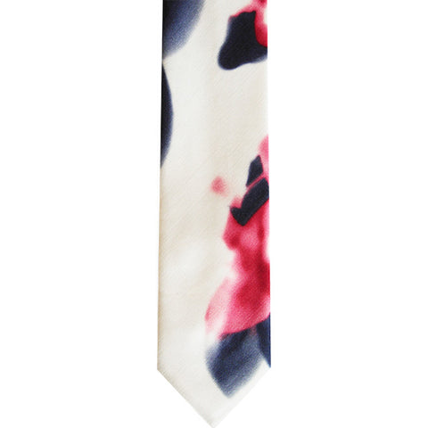The Kamil Skinny Tie in Blue Red Print