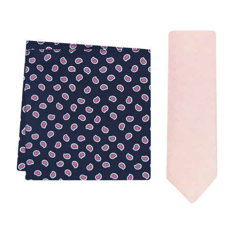 The Peach Raspberry Skinny Tie & The Norris Pocket Square Set