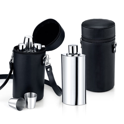 Flask and Shot Glass Set in Leather Carrying Case