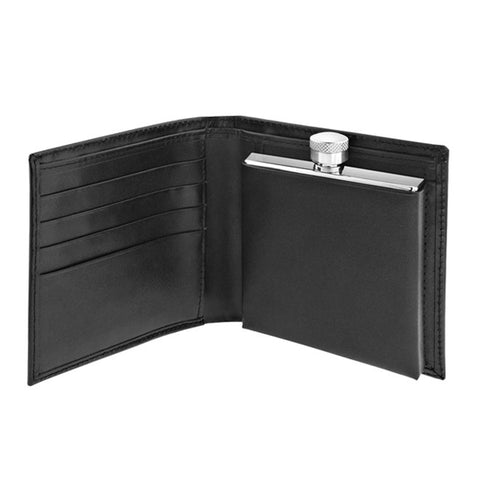 Leather Wallet with 2oz Flask