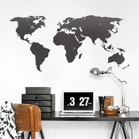 Detailed World Map Mural Wall Decal in Black