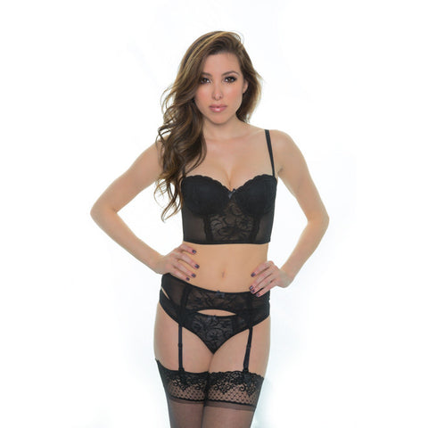 Sinfully Yours Strapless Cropped Corset in Obsidian