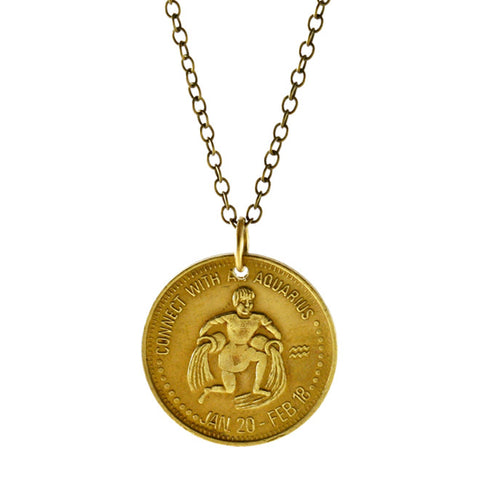 Zodiac Peep Show Token Aquarius Necklace