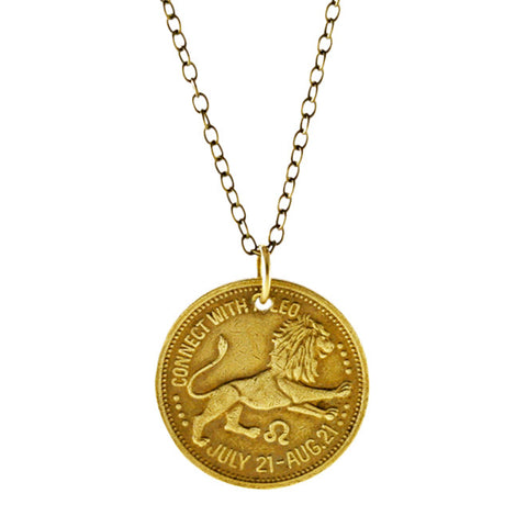 Zodiac Peep Show Token Leo Necklace
