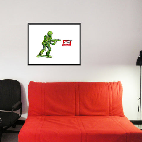 Nostalgic Green Army Man Toy with Bang Banner