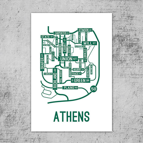 Athens, Ohio Street Map Poster
