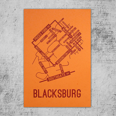 Blacksburg, Virginia Street Map Poster