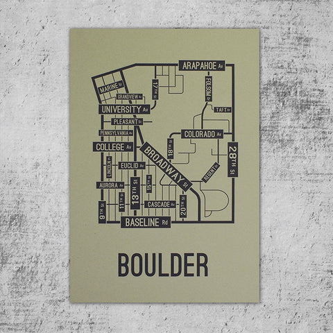 Boulder, Colorado Street Map Poster