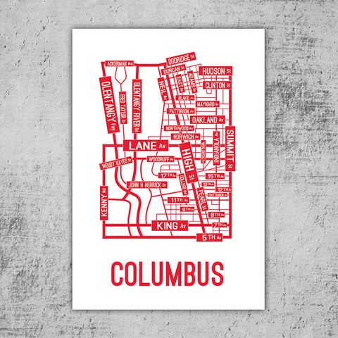 Columbus, Ohio Street Map Poster