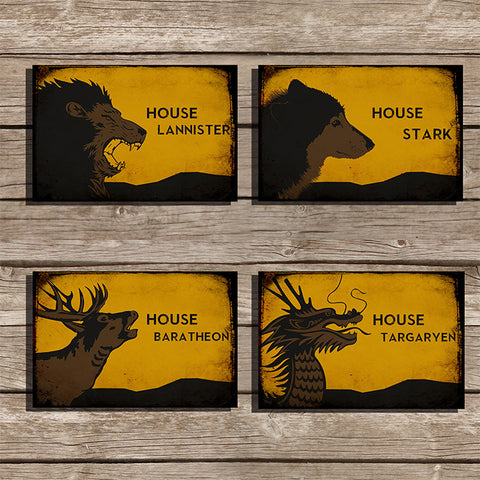 Game of Thrones Minimalist Print, Set of 4