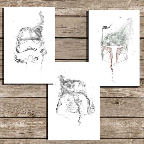 Star Wars Smoke Art Minimalist Print in White, Set of 3