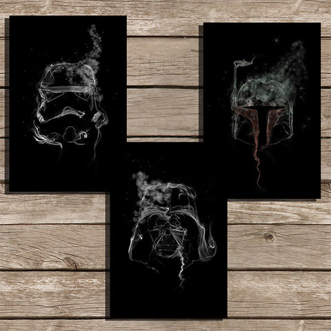 Star Wars Smoke Art Minimalist Print in Black, Set of 3