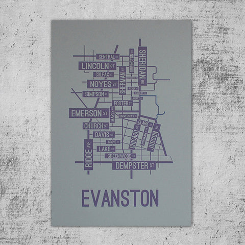 Evanston, Illinois Street Map Poster