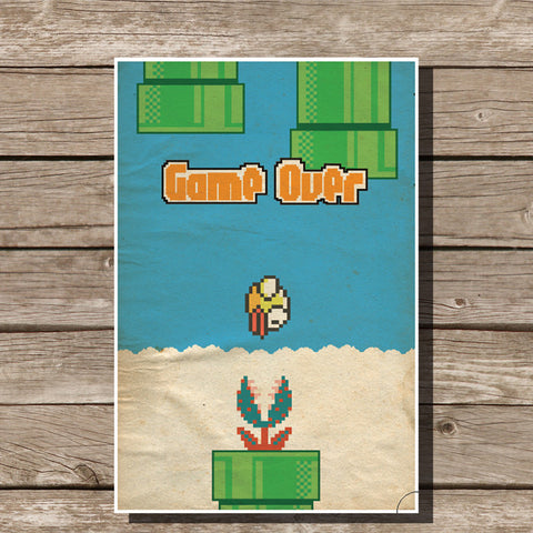Flappy Bird Video Game Minimalist Print